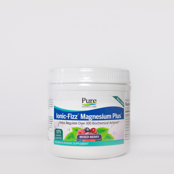 White plastic tub of pure essence ionic fizz magnesium powder with small green foliage image with mixed berries, citrus fruits, or oranges
