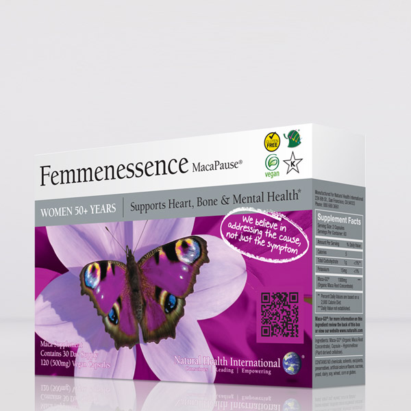 Box of femmenessence macapause maca capsules with label featuring a dark purple butterfly with multiple colored rings on the tip of each wing sitting on a violet flower