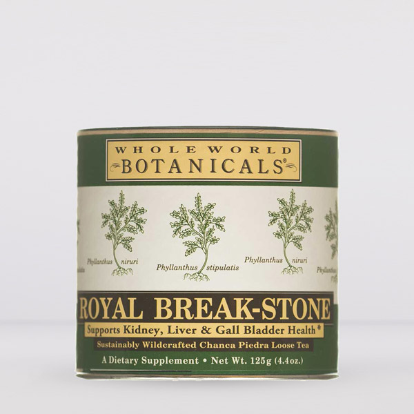 Container of Royal Breakstone loose tea with green gold and white label featuring small sketchings of chanca piedra